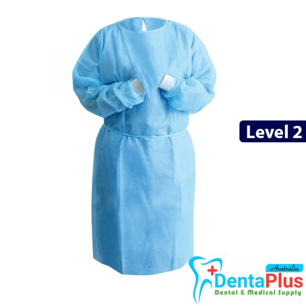 Isolation Gown level 2 - Isolation Gown Tie back with Knitted Cuffs Level 2 (Blue)10 Pcs/Pkt