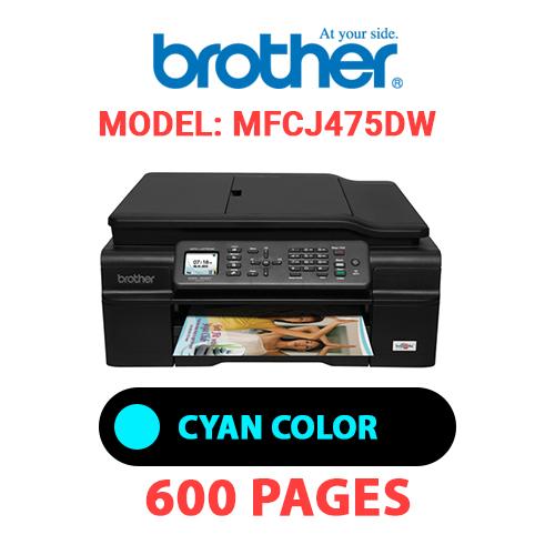 MFCJ475DW 1 - BROTHER MFCJ475DW PRINTER - CYAN INK