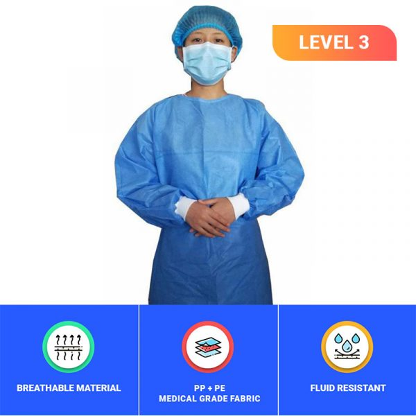 Untitled 2 1 - LEVEL 3 Impervious Isolation Gown Tie back with Knitted Cuffs (Blue) -10 Pcs/Pkt
