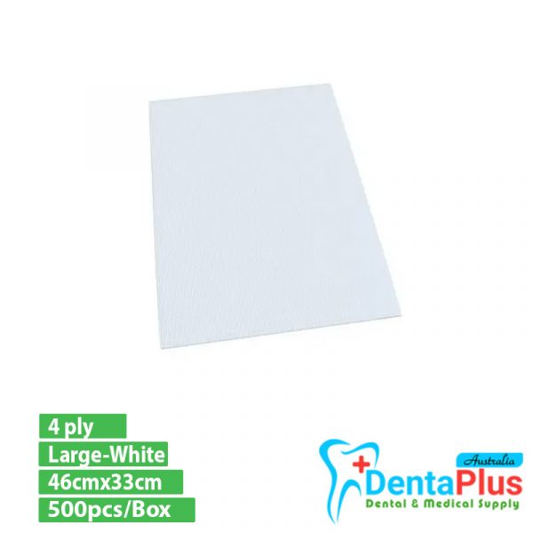 dentalbib white - Dental Bibs-(4 ply) 46cmx33cm Large-White- 500pcs/Box