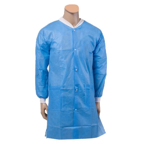 lab coat collar - Isolation Gown Front Button With Knitted Cuffs & Collar (10pcs/pkt)